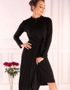 Efektowna sukienka plsowana czarna SM L XL...