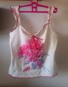 Biała koszulka top bluzka z nadrukiem róża różowy...