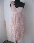 sukienka pudrowa falbanki tiul H&M S...
