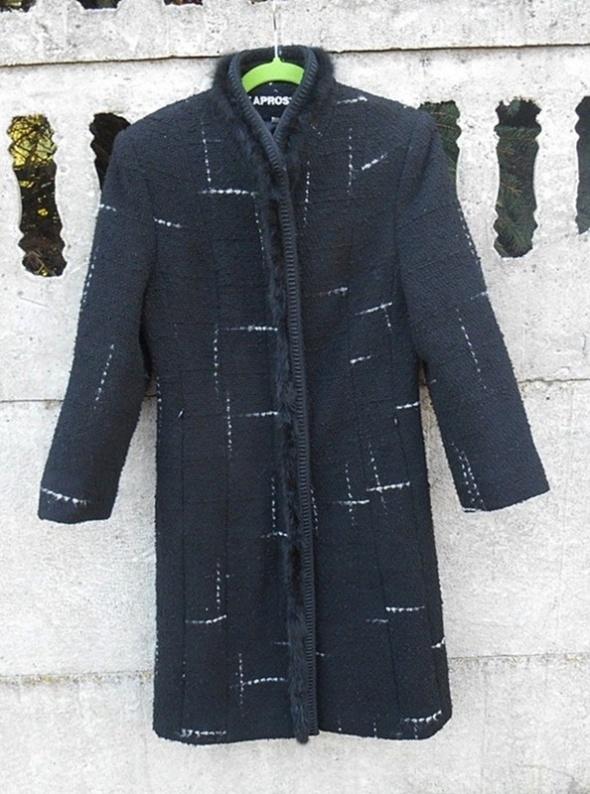 Odzież wierzchnia Zimowy Płaszcz 40 L wełniany długi czarny jak NOWY