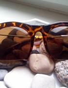 Sinsay okulary przeciwsłoneczne duże panterka brąz...