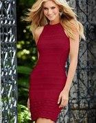 RAINBOW czerwona dzianinowa sukienka 34