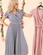 JOKASTYL plisowana sukienka pasek midi wiosna S M L XL błękit...