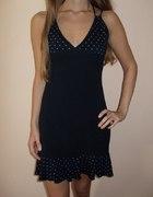 sukienka w kropki na ramiączkach czarna 36 S 38 M...