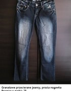 Granatowe przecierane jeansy prosta nogawka 38 M...
