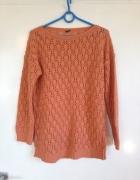 Dzianinowy materiałowy ceglasty sweter sweterek oversize S M L ...