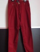 Burgundowe spodnie h&m zamki na dole xs 34...