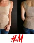 Beżowy top na ramiączkach z koronką h&m xs 34