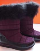 Fioletowo czarne śniegowce kalosze futerko F&F 36...