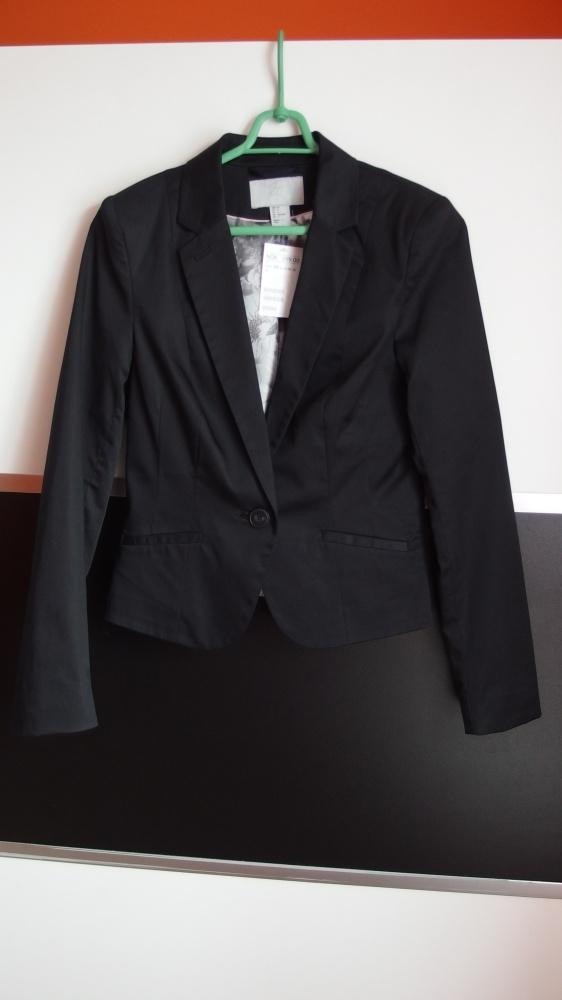 Czarna marynarka żakiet H&m z baskinką z tyłu xs 3