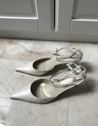Buty ślubne Venezia skórzane z koronką na pięcie...