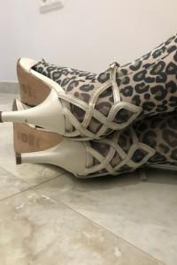 Buty ślubne Venezia skórzane z koronką na pięcie