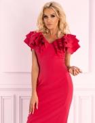 Elegancka wizytowa sukienka S M L XL CHABER MALINA...