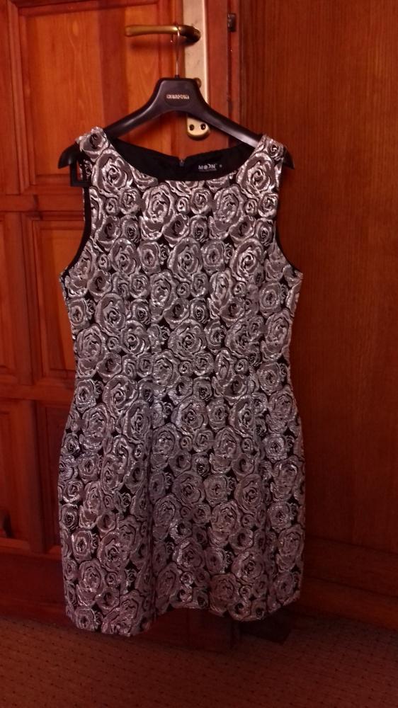 Suknie i sukienki Czarnosrebrna wizytowa sukienka 38