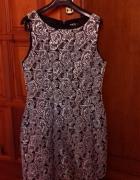 Czarnosrebrna wizytowa sukienka 38