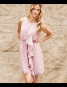 Zwiewna sukienka pudrowy róż falbanka H&M 40