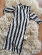 Ołówkowa marynarska sukienka Reserved z rozcięciam