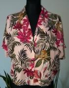 Bluzka motyw tropikalny pantera liscie...