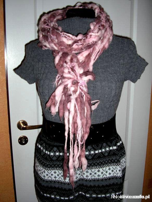 Szaliki i szale śliczny różowy szalik odcienie różu