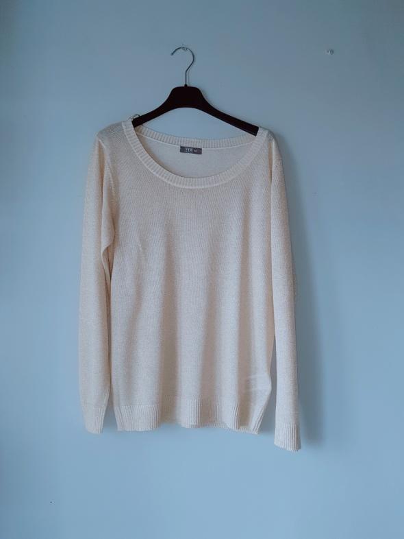Kremowy beżowy świecący sweterek M