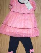 nowy komplet sukienka z perełkami i getry kokardki perełki 98