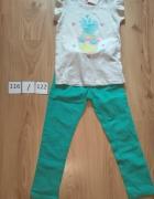 Szara bluzka z krótkim reakwem ananas i zielone spodnie gumka 1...