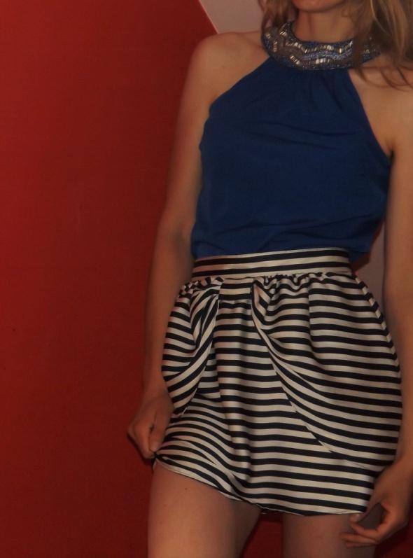 Spódnice spódnica h&m marynarska rozkloszowana kokardka