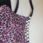 Bluzka tunika panterka różowa wiązana na szyi xs s m 34 36 38 elastyczna