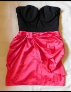 Lipsy sukienka mini róż czarna sexy 36 38...