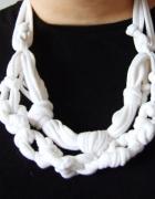 Biała plecionka na szyję biała ozdoba boho...