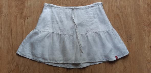 Spódnice Biała lniania spódnica Esprit rozm S stan idealny