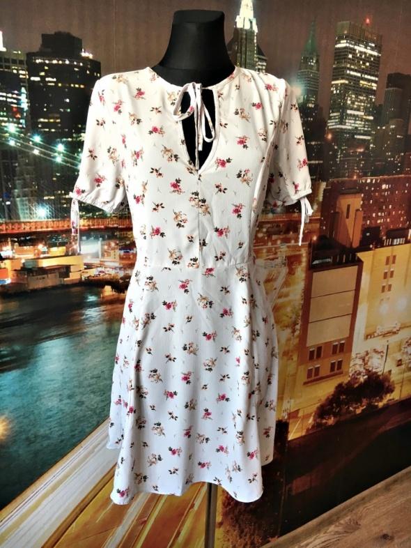 new look sukienka zwiewna modny fason kwiaty floral 38 M...