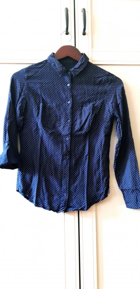 XS granatowa koszula w groszki...