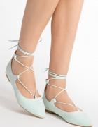 Miętowe zamszowe wiązane balerinki Kendall 37...