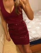 Czerwona bordowa sukienka cekiny