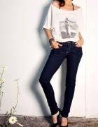 Jeansowe spodnie rurki H&M...