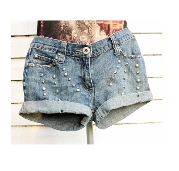 Spodenki Jeansowe spodenki z ćwiekami