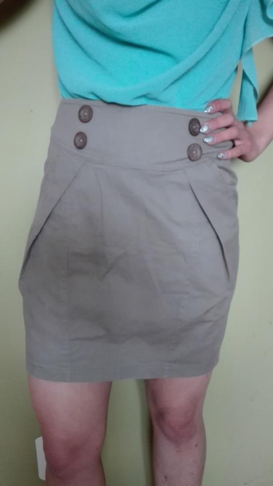 Spódnice Spódniczka khaki z kieszonkami