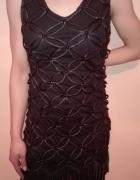 Czarna sukienka z frędzlami nowa...