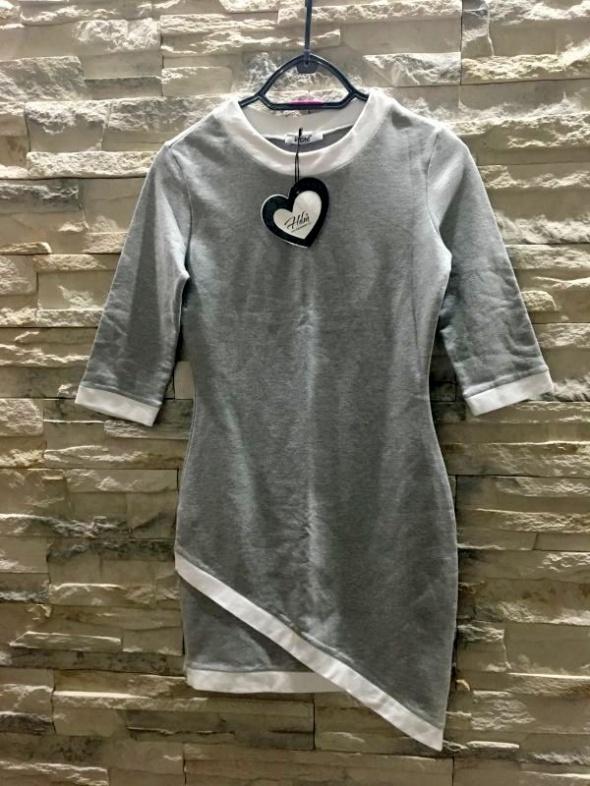 Nowa asymetryczna szara sukienka krótka