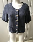 Niebieski sweterek ażurowy kardigan zapinany na guziki...