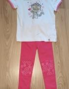 Nowy komplet biała bluzka z kotkiem i leginsy z kwiatkami 98...