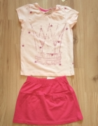 Nowy komplet Bluzka różowa i różowa spódniczka 98 104...