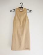 beżowa sukienka z wiązanym tyłem WSZYTY BIUSTONOSZ XS
