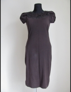 Sukienka brązowa RESERVED z ozdóbkami rozmiar 40 L...