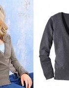 klasyczny sweter rozpinany w kolorze szarym...