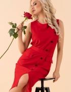 ołówkowa sukienka czerwona kieszenie guziki S M L XL 3 KOLORY...