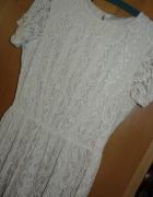 Sukienka Beżowa Koronka Papaya 12 L M Cud