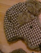 czapka uszatka pepitka zimowa misiu futerko
