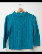 Śliczny Sweter sweterek niebieski cieply gruby HIT...